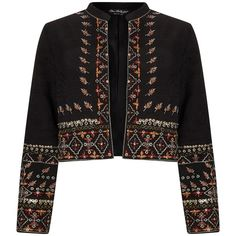 Miss Selfridge Embellished Bolero Jacket, Multi/Black ($46) ❤ liked on Polyvore featuring outerwear, jackets, light weight jacket, long sleeve bolero, cropped bolero, long sleeve bolero jacket and miss selfridge