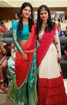 Designer half sarees a beautiful traditional look Half Saree Lehenga, Lehenga Style, Indian Lehenga, Indian Gowns, Indian Attire, Half Saree Designs, Lehenga Designs, Saree Models, Blouse Models