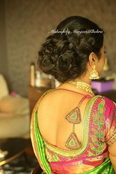 Stunning Blouse Back Neck Designs - Kurti Blouse Saree Blouse Patterns, Saree Blouse Designs, Blouse Styles, Blouse Back Neck Designs, Blouse Models, Kurta Designs, Saree Dress, Indian Designer Wear, Saree Tassels