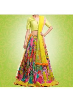 Bollywood Replica - Party Wear Multi-Coloured Pure Satin Lehenga Choli - G01