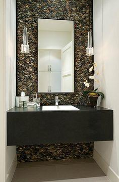 Modern Half Bathroom Design half bath tile ideas | half bathroom designs brick tiles half