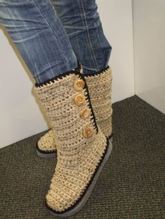 Crochet Boots - One of a kind Ugg style boots. $50.00, via Etsy.