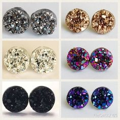✨All week collection✨ host pick!!! 6 pairs of Handmade earrings with Druzy style charms  Metallic gold 10mm, bright silver 12mm, gun metal 12mm, blackberry 10mm, purple magenta 10mm, black 12mm The backs are nickel and lead free.                No trades please Price as listed Drusy/Druzy Bundle and save!!  Jewelry Earrings