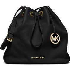 Women's Black Michael Michael Kors Jules Leather Large Drawstring Shoulder Bag