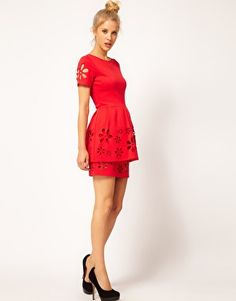 Enlarge ASOS Skater Dress with Daisy Cutwork - I can always wiggle my way into stretch jersey.