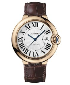 Ballon Bleu de Cartier. 18 carat gold case with sapphire crystal glass face and silvered opaline dial. Iconic.