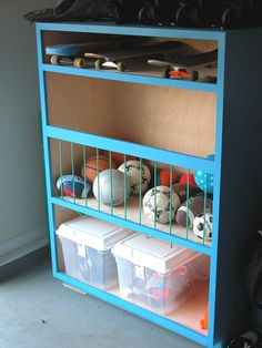 DIY ball storage for garage. We need garage storage for all the outside toys. Organisation Hacks, Garage Organization Tips, Diy Garage Storage, Bedroom Organization, Bathroom Storage, Storage Room, Storage Bin Organization, Organization Ideas For Garage, Small Garage Ideas