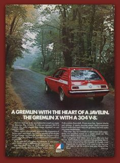 AMC Gremlin X car vintage magazine ad ephemera by catchingcanaries