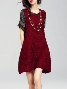 #AdoreWe #StyleWe Dresses - CHARSU Cotton Short Sleeve Paneled Crew Neck Casual Mini Dress - AdoreWe.net