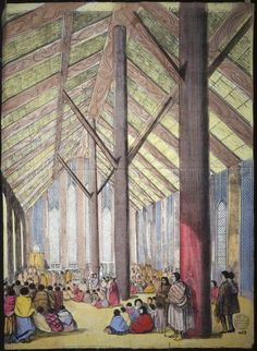 Charles Decimus Barraud 1822-1897: Interior of Otaki Church, ca 1851/Working Men's Education Union WM 13.[1850s or early 1860s] View inside Rangiatea Church Otaki, with Maori seated and standing, listening to a sermon by Octavius Hadfield.