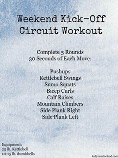 Weekend Kickoff Circuit Workout - Kelly Runs For Food