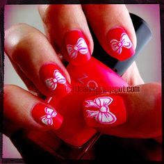 thatleanne: Valentines Bow Nail Art How To