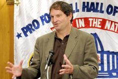Bernie Kosar speaks the the Pro Football Hall of Fame Luncheon Club in 2010.