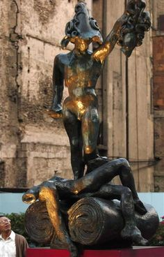 "Salvador Dali (1904-1989) ""Perseus, Homage to Benvenuto Cellini"" 255cm x 127cm x 105cm. Edition of 8 plus proofs. Bronze placement I worked on in Mexico City. Museo Soumaya, 2006. www.robinrile.com"