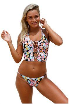 GOSOPIN Womens Printed Wide Straps 2 Pieces Bikini Set Vintage High Waist Swimming Costume