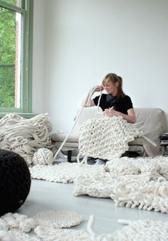 giant knitting. Haha this is crazy! I might try this if I new where to find the giant balls of yarn...