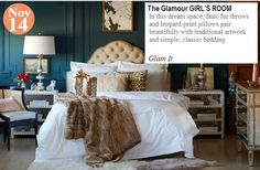 Teelie's Top Pick The Glamour GIRL'S ROOM... Glam it: www.teelieturner.com   In this dream space, faux-fur throws and leopard-print pillows pair beautifully with traditional artwork and simple, classic bedding. #onekingslane