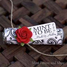 "Mint wedding Favors - Set of 24 mint rolls - ""Mint to be"" favors with personalized tag - red, black and white, elegant, classy red"