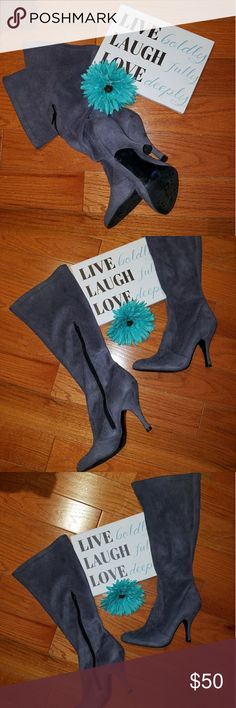 BCBG Grey Boots Suede BCBG heeled Zip up boots. Excellent condition. BCBGirls Shoes Heeled Boots