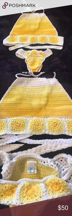 Andi Bagus yellow halter crochet bikini ANDI BAGUS. Top worn once (not in water). Bottoms ended up being a bit small so they've never been worn! It's a one size, top would fit small to medium and bottoms I'd say XS-S! Show Me Your MuMu Swim Bikinis