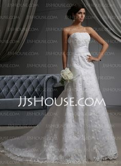 Wedding Dresses - $325.99 - A-Line/Princess Strapless Chapel Train Satin Tulle Wedding Dress With Lace (002022680) http://jjshouse.com/A-Line-Princess-Strapless-Chapel-Train-Satin-Tulle-Wedding-Dress-With-Lace-002022680-g22680