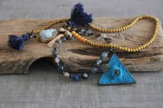 Turquoise Leather Evil Eye  Aqua Geodes Crystal  Coral Tooth