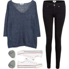 Untitled #32 by girlwithasmile on Polyvore featuring polyvore, fashion, style, MANGO, Paige Denim, Converse and Ray-Ban
