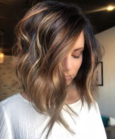 Stylish Ombre Balayage Hairstyles for Shoulder Length Hair 2019 Medium Haircut Balayage Brunette, Brunette Hair, Balayage Hair, Ombre Hair, Long Bob Brunette, Blonde Hair, Ombre Bob, Short Ombre, Short Wavy