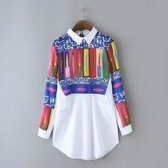 Women Blouse Shirt Long Sleeve Multi-color Geometric Pattern Print Long Cotton Blouses Shirts Tops Tees Female Clothing