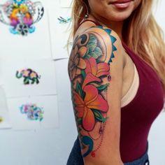 Polynesian tattoo, arm tattoo, plumeria tattoo, color tattoo, hula girl tattoo