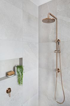 Meir's Round Champagne Shower Rail Set is the latest design to hit Australia. With the Shower head, this champagne shower set will amaze. Laundry In Bathroom, Bathroom Renos, Bathroom Renovations, Bathroom Ideas, Bathroom Cabinets, Plants In Bathroom, Large Tile Bathroom, Master Shower Tile, Bathroom Mirror Cabinet