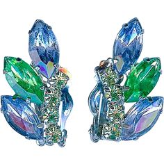 Vintage Juliana Style Blue Lime Green Rhinestone Earrings Sparkling!. Vintage Jewelry under $25 at Ruby Lane @Ruby Lane
