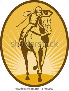 vector illustration of a Horse and jockey racing front view done in woodcut style. #horserace #retro #illustration