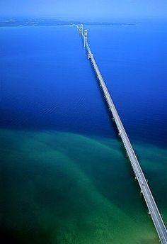 Beautiful aerial shot of the Macinac Bridge!