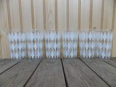 Vintage 1960's White Diamond Pattern Drink Glasses Lot Of 6 Retro Mid Century Glassware