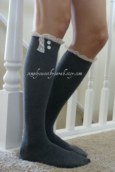 Charcoal Boot Socks with knit lace trim & buttons, lace boot socks on Etsy, Sold Fall Outfits, Cute Outfits, Fashion Outfits, Lace Knitting, Knit Lace, Lace Boot Socks, Girly Things, Girly Stuff, Her Hair