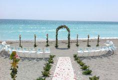 lido beach florida beach wedding arch aqua sashes