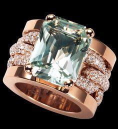 Aquamarine and diamond Ralph Lauren ring.