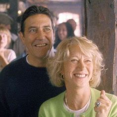 Chris (Mirren, right) and her husband, Rod (Ciaran Hinds, left) celebrate the success of the calendar