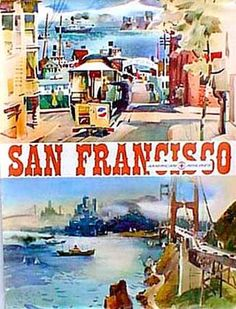 American Airlines San Francisco  Vintage Travel Poster    1960s