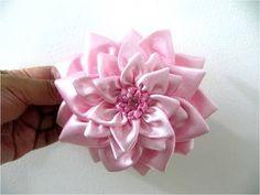 Moños flores dalias en cintas para el cabello paso a paso