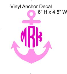 Anchor Monogram Sticker Car Decal by MyMonogramHeaven on Etsy, $10.95