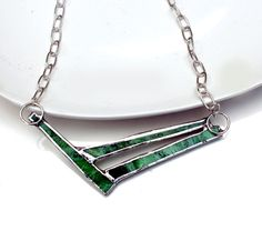 Green Mottled Statement Necklace - Stained Glass. Starting at $1 on Tophatter.com!
