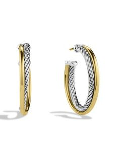 6c11c9b5a4d David Yurman - Crossover Extra-Small Hoop Earrings with Gold - Saks.com  Personal