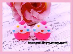 Cupcake Earrings Sprinkle Resin Cupcake Studd by tranquilityy