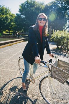 How to achieve the Parisian Girl look... add a great blazer, cute sunnies, and a bike. You could be riding the streets of Paris!