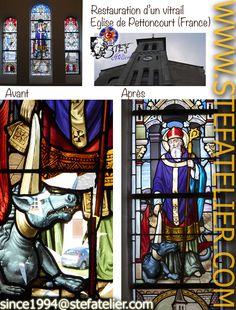Restauration d'un vitrail d'église à Pettoncourt par l'atelier de vitrail