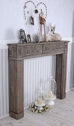 Fireplace mantel Deco fireplace Country – house style Fireplace mantel Fireplace surround Vintage in Furniture & Interior, Fireplaces & Fireplace accessories, Fireplace mantel Faux Fireplace Mantels, Modern Fireplace, Fireplace Surrounds, Decorative Fireplace, Vintage Mantle, Estilo Country, Country Style, Apartment Makeover, Fireplace Accessories