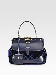 Gucci - Lady Stirrup Medium Velvet & Leather Top Handle Bag