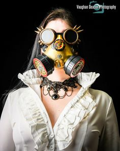 Victorian vintage necklace, ruffled blouse & steampunk mask & goggles